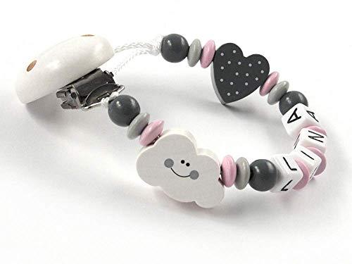 SCHNULLERKETTE mit NAMEN MÄDCHEN - Wolke Herz - rosa grau weiß - Baby - Holz - Silikonring