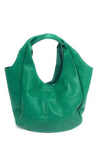 Pito' s Bag Borsa donna ecopelle Estro, Sacchetta leggera grande taglio laser con pochette interna per riporre le cose a te più care (verde)