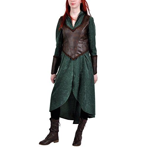 Elbenwald - Disfraz de delbe para el señor de los anillos y los aficionados al hobbit, 2 piezas, con vestido y mieder para mujer, color verde