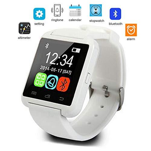 Pandady U8 Touch-Screen-Armbanduhr Bluetooth Smart Watch, Außensport Schritt Smartwatch Fitness Tracker Activity Tracker Für Kinder Frauen Männer Für Ios Android Smartphone,Weiß