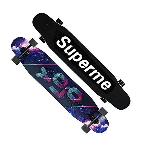 Skateboard Komplettboard mit High Speed ABEC Kugellagern, Drop-Through Freeride Skaten Cruiser Boards, Longboard mit LED Leuchtrollen für Erwachsene Kinder Jungen Mädchen (Color : A)