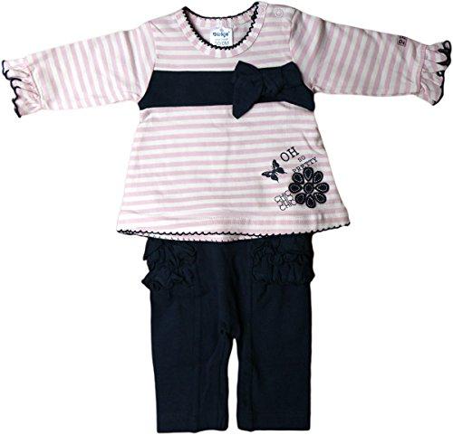 2-Teiler/Langarm-Shirt und Leggins - Chic Chic Chic - Rosa/Blau/Weiß/Gestreift