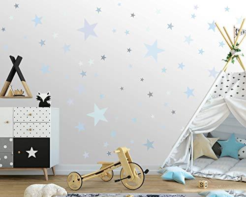 100 Sterne Wandtattoo fürs Kinderzimmer - Wandsticker Set - Pastell Farben, Baby Sternenhimmel zum Kleben Wandaufkleber Sticker Wanddeko - Wandfolie, Kleinkinder, Erstausstattung, Blau Pastel