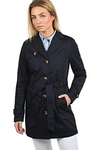 DESIRES Tessa Damen Trenchcoat Mantel Übergangsjacke mit Reverskragen und Gürtel, Größe:XL, Farbe:Insignia Blue (1991)