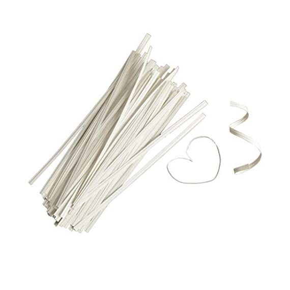 Twies 5 Inch Paper Twist Ties 200 Pcs   Reusable Bread Ties for Party Cello Candy Coffee Treat Bags Cake Pops - White 5 ⭐Economy Pack: Pack of 200 twist ties for bags, ample supply to meet multiple needs. Reusable tie, this one-time purchase will serve you for long ⭐Adequate Length: 5 inches twist tie, long enough to serve the purpose of tying tightly and does not open up at its own ⭐Durable: Made of premium quality paper with inner strong, non-breakable metal wire. Durable for every weather, use twisty ties for indoor and outdoor needs