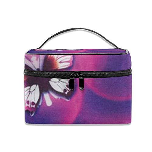 Papillon Rose Voyage Maquillage Train Cas Maquillage cosmétique Cas Organisateur Portable Artiste Sac de Rangement
