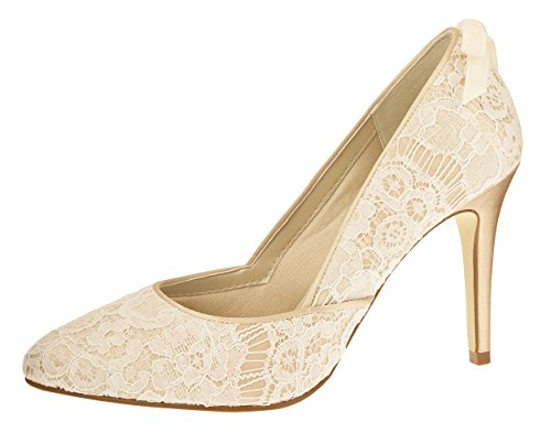 Rainbow Couture Brautschuhe Agnes - Pumps High Heels - Ivory Gold Spitze Satin - Gr 41 EU 8 UK