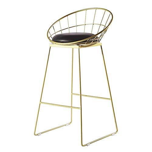 YLCJ Moderne barkruk 65 / 75cm Nordic kruk Kinderstoel Eetkamerstoel met PU zitting Gesmede ijzeren stoel met voet in goud metaal Max. 200 kg. Seat Height:65cm