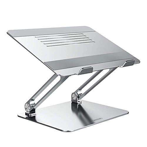 YHNJI Laptop Stand, Adjustable Laptop Riser Ergonomic Notebook Stand with Protective Hooks, Heat Dissipation Computer Stand Compatible with MacBook,Dell,Lenovo,All Laptops From 11-17.3'(Silver)