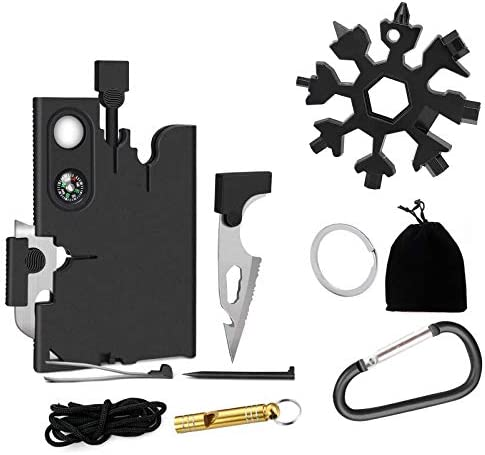 Pocket wallet Tool set kit for men 18 in 1 Credit Card Tools 18 in 1 Stainless Steel Snow flake product image