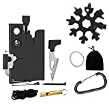 Pocket wallet Tool set kit for men 18-in-1 Credit Card Tools & 18 in 1 Stainless Steel Snow-flake Tactical Multitool Set Survival Wallet Blade Hunting Valentine Gifts Stocking Stuffers Knife (Black)