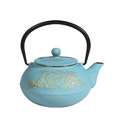 Cast Iron Teapot Ouxin,Japanese Style,Stovetop Safe Cast Iron Tea Kettle Coated with Enameled Interior for Coffee,Tea Bags,Loose Tea, Floral Pattern, 30oz (900 ml),Blue