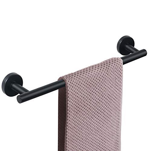 NearMoon Bathroom Towel Bar, Bath Accessories Thicken Stainless Steel Shower Towel Rack for Bathroom, Towel Holder Wall Mounted (Matte Black, 18 Inch)