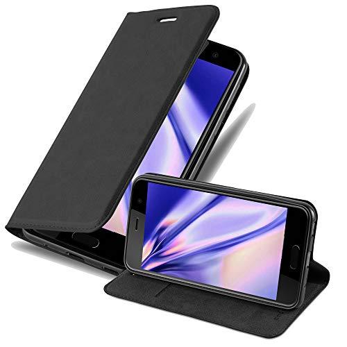 Cadorabo Hülle für HTC U Play in Nacht SCHWARZ - Handyhülle mit Magnetverschluss, Standfunktion & Kartenfach - Hülle Cover Schutzhülle Etui Tasche Book Klapp Style