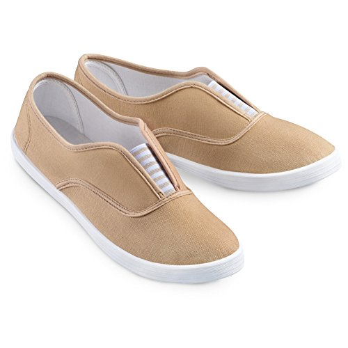 Slip-On Sneaker Shoes with Padded Insoles and Stripe Accent, Cotton, Tan, 11