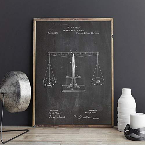 QAZEDC Leinwand Gemälde Waage der Gerechtigkeit Patent Chemie Wandkunst Leinwand Rechtsanwalt Poster Dekor Vintage Blueprint Malerei Geschenk Wanddekorationen 60x80cm