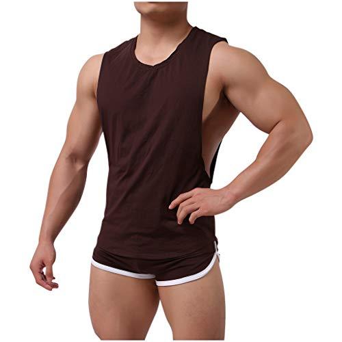 Yue668 - Mono de color liso para hombre, camiseta de chándal informal para hombre, 2 piezas, ajustado para deporte, camiseta y pantalón corto café XXL