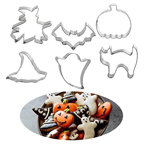 iSuperb 6 Pezzi Tagliabiscotti Halloween Set di Stampo Formine per Biscotti in Acciaio Inossidabile Strumenti di Cottura DIY - Zucca Cappello da Strega Fantasma Gatto spaventato Pipistrello (6pcs)