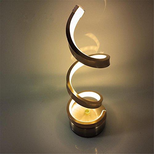 Placage moderne Lampe de table chromée à LED Lampe de chevet Simplicité contemporaine Lampe de table en forme de S pour chambre à coucher Éclairage de chambre à l'hôtel