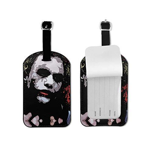 Jo-ker etiqueta de equipaje con tarjeta de identificación de nombre colorida y segura bolsa de equipaje etiqueta etiquetas de microfibra PU cuero 2.7 x 4.3 pulgadas