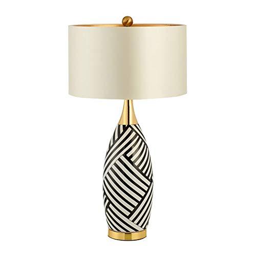 Moderne Minimalistische Schlafzimmer Licht,Zebra-druck Keramik Tischlampe,Stoff Lampenschirm,Schlafzimmer-bett-wohnzimmer-die Arbeitstischlampe Glänzt Auf Einer Fläche Von 5m2.-10m2