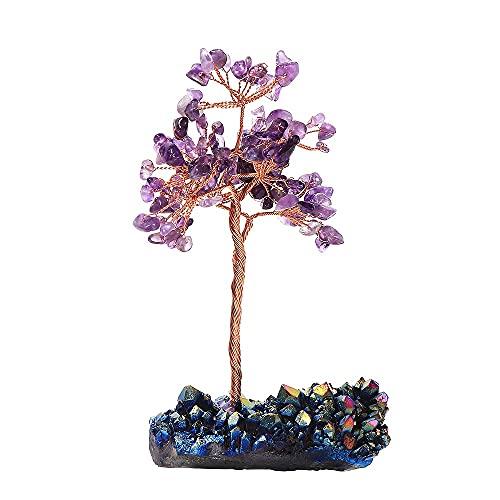 FVDS Árbol de Dinero de Amatista, espécimen de racimo de Piedra de Cristal Natural Terreno Afortunado Trae Suerte Tablero de la Riqueza Oficina domiciliaria Decoración curativa (Color : A)