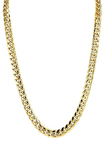 The Diamond Deal Mens SOLID 14K Yellow Gold 8.5mm Shiny Miami Cuban Link Chain Necklace For men for