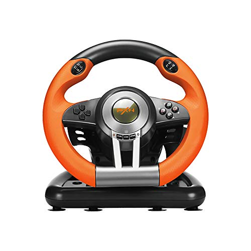PXN V3III PC Steering Wheel 180 Degree Universal USB Car Racing Game Racing Wheel with Pedals for PS3, PS4, Xbox One,Xbox Series X/S,Nintendo Switch Orange(Used - Like New)