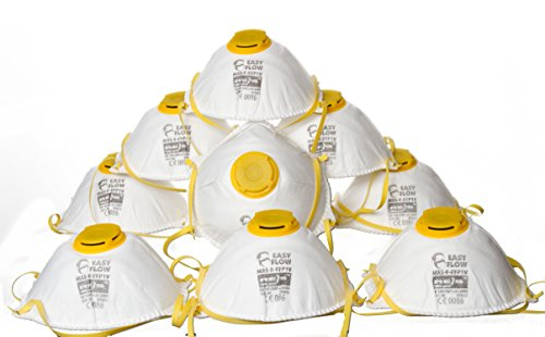 10x Atemschutz Staubschutzmaske Maske mit Ventil FFP1 inkl.HEWADI® Sticker (Set 1 FFP1)
