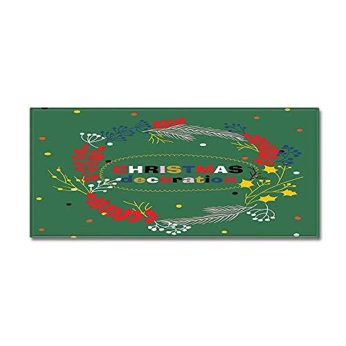 Küchenmatten Anti-Rutsch waschbar Innenbereich Teppiche Küchenteppich Küchenläufer Matte,Grüne Girlande Weihnachten Brief Drucken 7MM Dicke Bad Teppich,60X180CM