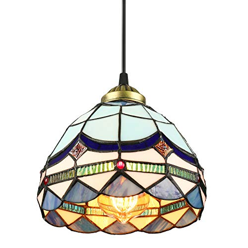BAYCHEER Tiffany Style Stained Glass Classic Blue Mini Pendant Light Chandelier Decorative Hanging Lamp Pendant Lighting Adjustable Ceiling Fixture 1 Light for Living Room Dinning Room Kitchen