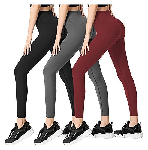 3 Stück Leggings mit Frauen - Keine durchsichtigen hohe Taille Bauchsteuerung Yoga-Hosen, geeignet für Sport, Laufen, (Color : 9, Size : XXL)