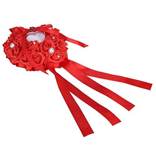 Wangzhi Favores De Boda Románticos Rosas Corazón Perla Anillo De Regalo Caja Almohada Cojín Blanco Rojo # 5656