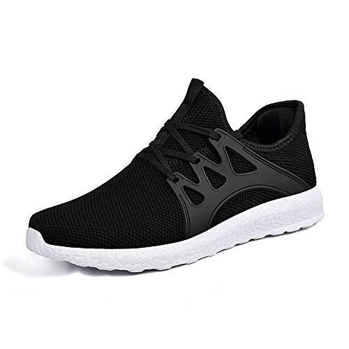 ZOCAVIA Herren Damen Sneaker Running Laufschuhe Sportschuhe rutschfeste Sneaker, Schwarz-weiß1, 41 EU