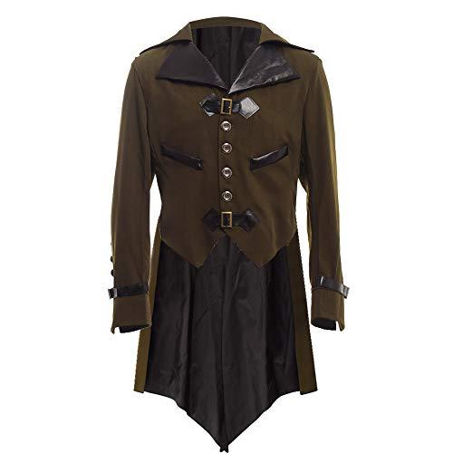 BLESSUME gotisch viktorianisch Frack Steampunk VTG Mantel Jacke Halloween Cosplay Kostüm (S, Armeegrün)