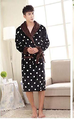 MNHJG Albornoz Estampado de Leopardo Flannel Lovers Albornoces Túnica Hombre Mujer Vestido de Noche Espesar Coral Pijamas Ropa de Dormir Lounge Kimono, 4 Hombres, L