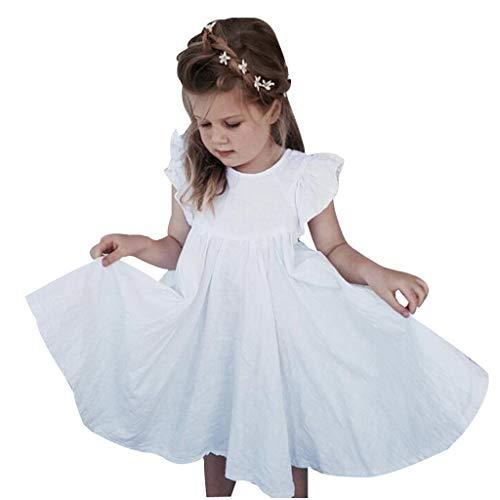 LEXUPE Kleinkind Kinder Baby Mädchen Leinen Rüschen Prinzessin Casual Beach Dress Outfits Kleidung(Weiß,130)