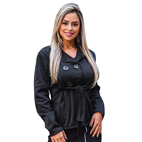 Casaco Feminino Sobretudo Curto Blazer Frio Moletom Botao (M-40, Preto)