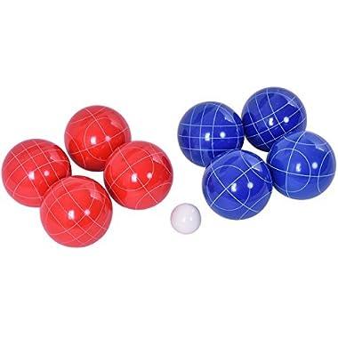 Goplus Bocce Ball Set W/ 8 Red & Blue Balls Pallino Lawn Game Outdoor Sports