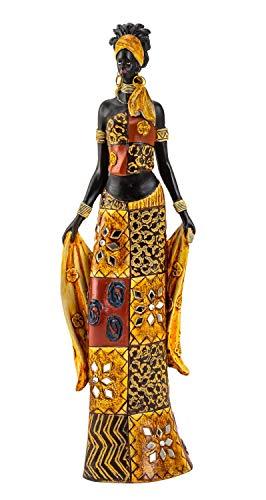 Escultura Moderna decoración Figura Mujer Africana de pie con Ropa y Telas de Colores, Altura 35 cm
