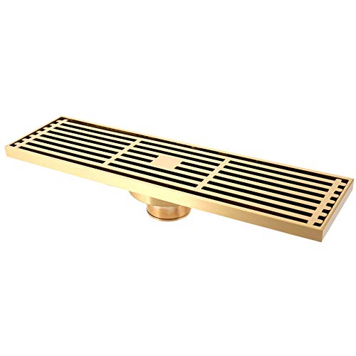SHUGUANG Duschablauf Messing Gebürstetes Duschrinne mit Haarsieb Bodensiphon Duschablauf Gitter Bodenbefestigung Ablaufrinne für Badezimmer und Küche, 30×8 cm,Gold