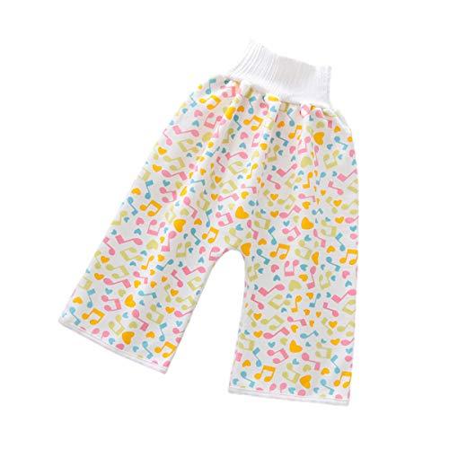 Baby-Windel-Trainingsrock, Pyjama, bequem, wasserdicht, Windelrock, Baumwolle, hohe Taille, Einheitsgröße, waschbar, wiederverwendbar, Stoffwindeln für Jungen und Mädchen Gr. 4-12 Jahre, Gelb - Hose.