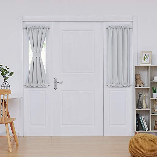 Deconovo Room Darkening Blackout French Door Panels Thermal Insulated Curtains Rod Pocket Curtains for Bedroom 25x40 Inch Greyish White