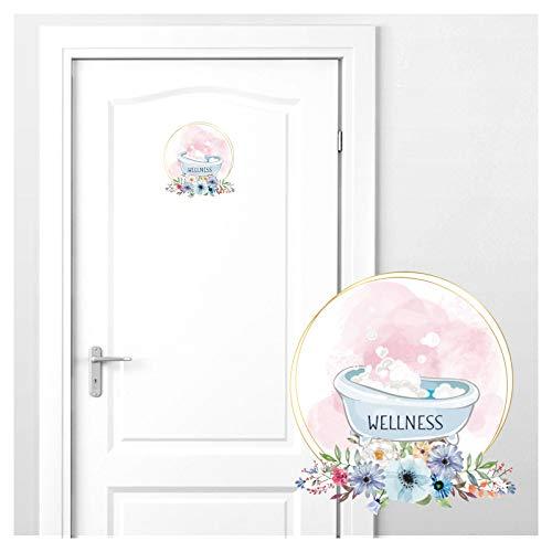 Grandora deursticker Wellness met badkuip & bloemen I 18 x 19 cm (B x H) I wandsticker wc zelfklevend wc-sticker toilet wandtattoo DL443