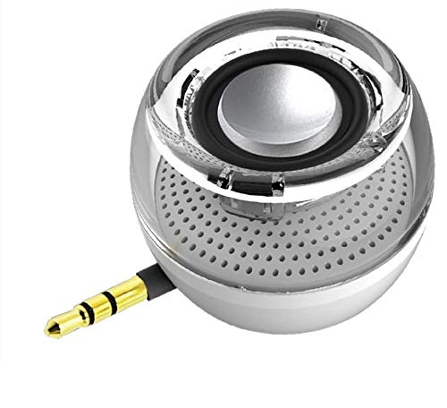 Portable Speaker, Leadsound Crystal 3W 27mm 8Ω Mini Wireless Speaker with 3.5mm Aux Audio Jack Plug in Clear Bass Micro USB Port Audio Dock for Smart Phone, for iPad, Computer (White)