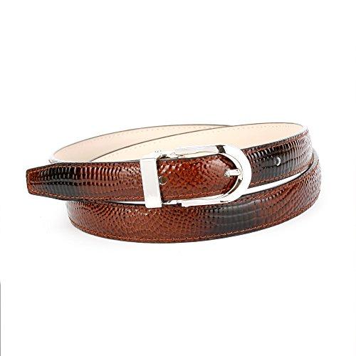 Anthoni Crown Designer Damengürtel Leder BRAUN 2cm Breite 85-110cm/1379B (85)