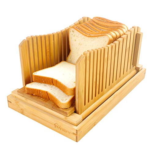 PURENJOY Foldable Bamboo Bread Slicer for Homemade Bread - Adjustable Bread Slicing Guide with Crumb Catcher Tray for Loaf, Cakes, Bagels, Narrow & Lightweight & 3 Different Thickness