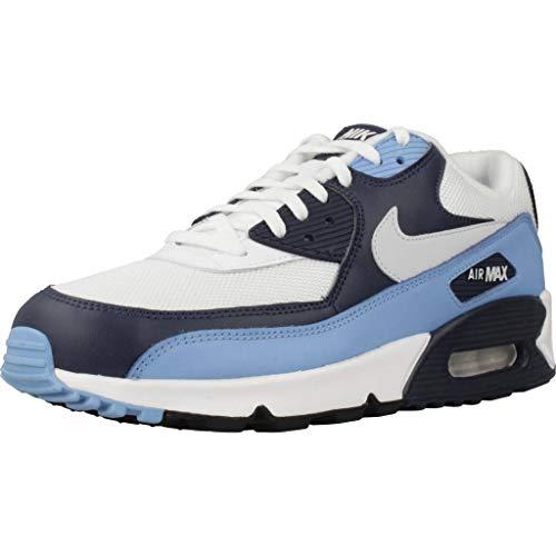 Nike Air Max 90 Essential Scarpe da Ginnastica Uomo, Bianco (White/Pure Platinum/Univ Blue/Midnight Navy 105), 40.5 EU