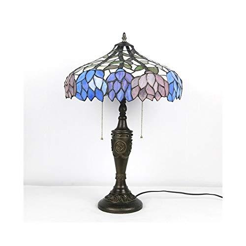 XWZH 2 del estilo de Tiffany luz lámpara de escritorio de la hoja del vitral de la lámpara de tabla ancha 16Inch antiguo de la vendimia for la Sala Infantil Sala