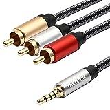 picK-me TRRS 3.5mm Macho a 3-Macho RCA Audio Estéreo Video Cable AUX Cable, para Altavoces, Reproductor de MP3, Teléfono Inteligente, Tableta, Computadora portátil, Automóvil, etc (1.8M)
